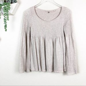 Anthro   knitted knotted bell sleeve babydoll top